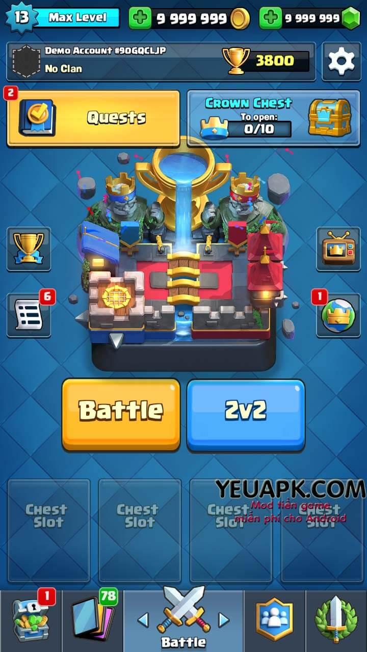 Clash Royale HD mod vàng và kim cương (coins gems) cho Android